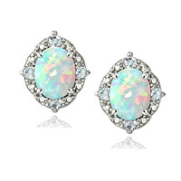 Sterling Silver Created White Opal & Blue Topaz Oval Stud Earrings