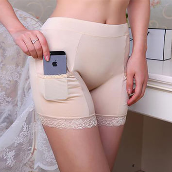 LG3962 Popular Bamboo Boyshorts with Pocket for Women Summer Style Aldult Ladies Safe Panties Under Skirt Free Size