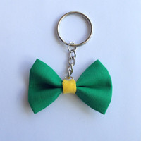 Unique Green and Yellow Fabric Mini-Bow Keychain