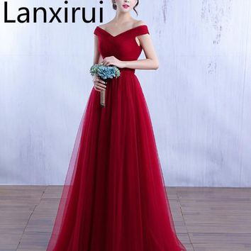Elegant Off The Shoulder Tulle Dress V Neck Bodycon Wedding Party Dress Burgundy /Red /Pink Evening Party Maxi Dress Vestidos