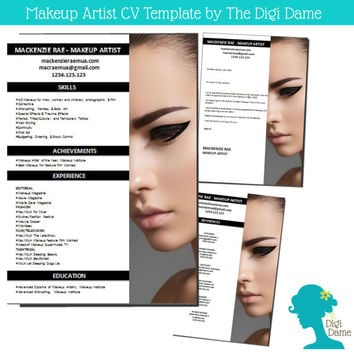 CV Template Package: Makeup Artist. Includes a CV, Cover Letter and References Page, in DOCX Format.