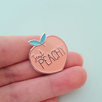 JUST PEACHY peach Soft enamel pin | Lapel pin | Cute fruity pink