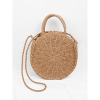 Round Straw Tote Bag - Purse - Large Bag - Beach Bag