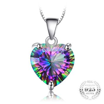 4.35ct Rainbow Fire Mystic Topaz Heart Pendant Solid 925 Sterling Silver