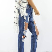 Take Me Higher Blue Distressed Denim Pants