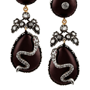 Fred Leighton - 1840s silver-topped gold, garnet and diamond clip earrings