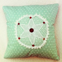 Vintage Doily Green Floral Handmade Cushion With Button Details. | Luulla
