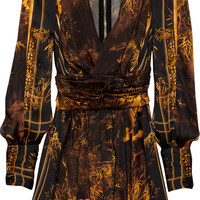 Balmain Printed silk mini dress – 65% at THE OUTNET.COM