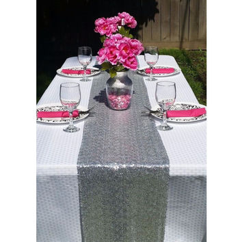 Most Cheap Silver Gold Sequin Table Runner For Wedding Event Party Banquet Christmas Wedding Table Decoraiton (30cm by 180cm)