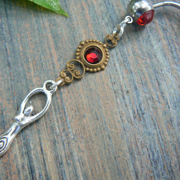 Fire Goddess belly ring  Goddess new age Chakra Yoga meditation