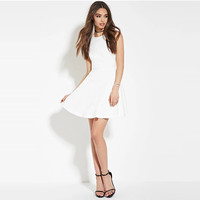 White Zip-Back Fit and Flare Mini Dress