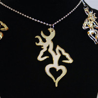Romantic deer heart head hunting love couple buck doe his hers southern country love pendant necklace earring set free decal gold mirror