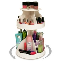 """Cosmetic Organizer that Spins ! Makeup is Now at Your Fingertips. Pretty in White & Perfect for any Countertop, Almost Triples Your Storage, Only 12"""" needed & No More Clutter!! ...Proudly Made in the USA! by PPM."""