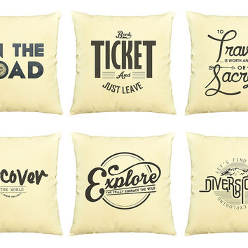 Vintage Travel Quote Printed Cotton Decorative Pillows Case VPLC_03