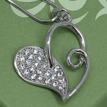 """""""Always in My Heart"""" Half n' Half Crystal Accented Heart Necklace"""