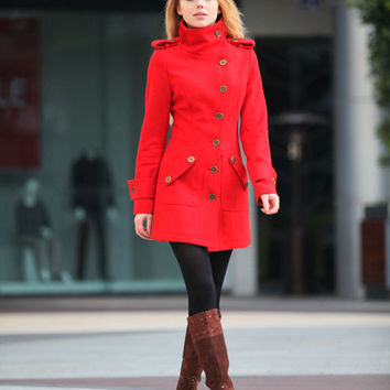 Red Cashmere Coat Fitted Military Style Wool Winter Coat Women Coat Long Jacket - NC258