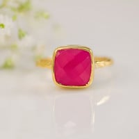 adorn512-Handstamped Jewelry - Personalized Mother Jewelry — Fuschia Pink Chalcedony Ring - Fuchia Pink - Gemstone Ring - Gold Ring - Bezel Set Ring