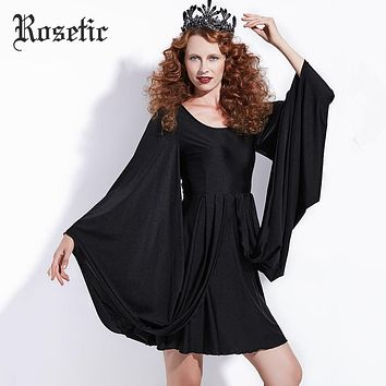 Rosetic Gothic Casual Dress Black Women Batwing Sleeve Spring Vintage Dress Party Fashion Retro Street Sexy Victorian Goth Dress