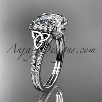 platinum diamond celtic trinity knot wedding ring, engagement ring with Cushion Cut Moissanite CT7148