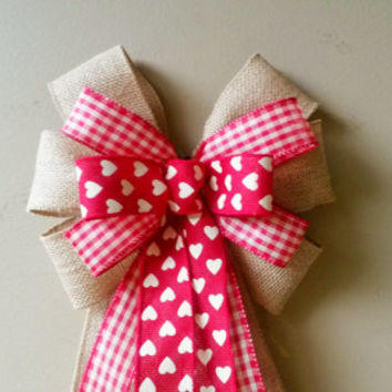 Burlap Plaid Heart Valentine Bow, Valentines Day Bow, Valentines Wreath Bow,  Heart Bow,  Door Mailbox Tree Topper Decoration