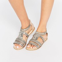 River Island Embellished Flat Sandal at asos.com