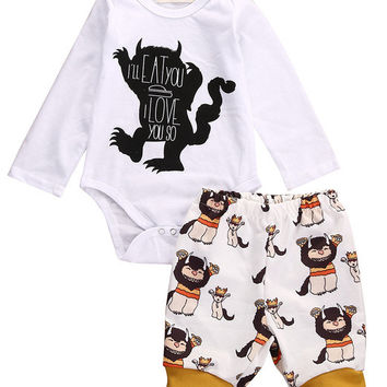 New Cotton Newborn Baby Girl Boy Clothes Kids Monster Romper+Pants Outfits Autumn Clothes Set