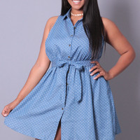 Plus Size Denim Polka Dot Print Dress - Blue