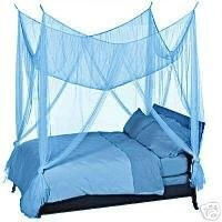 OctoRose ® Teal Blue 4 Poster Bed Canopy Mosquito Net Full Queen King