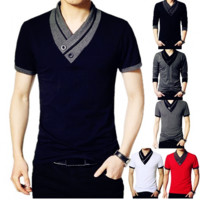 Men's T-shirt Spell color collar short-sleeved T-shirt Decorative buttons Tops Summer causal blouse 4 colors M~XXXXL [10312513283]