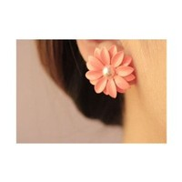 HuaYang Stylish Elegant Sweet Lovely Pink Daisy Flower Pearl 1 Pair Earrings