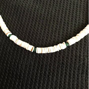 White Heishi and Dark Green Beaded Mens Necklace