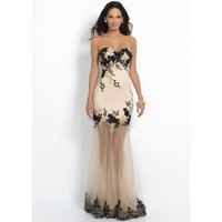 Intrigue by Blush 71 Fitted Gown with Illusion Skirt