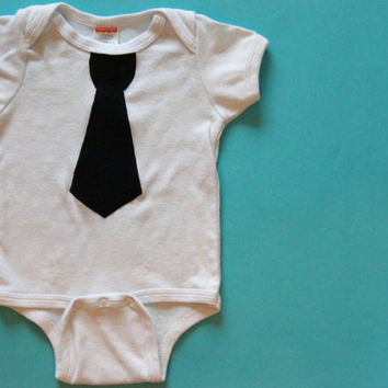 Black Tie Onesuit, Formal Baby Clothes, Boy Photo Prop, Tie Applique Bodysuit
