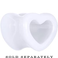 00 Gauge White Acrylic Hollow Heart Tunnel | Body Candy Body Jewelry