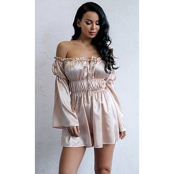Say Something Khaki Satin Long Sleeve Off The Shoulder Romper Playsuit
