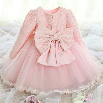 Winter Newborn Baby Girl Dress Wedding Baptism kids clothing infant Princess Dress Bow 1 year Birthday tutu dress girls Clothes