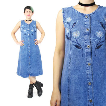90s Embroidered Denim Dress Floral Cut Outs Sleeveless Denim Dress Button Down Front Dress Tie Back Tank Dress Midi Acid Wash Dress (S)