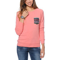 Glamour Kills Aztec Pocket Coral Crew Neck Sweatshirt at Zumiez : PDP