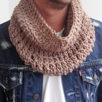 BEIGE SCARF MENS Hand Crochet Scarf Soft Infinity Mens Braided Cable Boho Cowl Loop Crochet Slouchy Mens Scarf Slouch Beanie Hand Winter 885