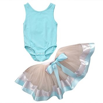 2Pcs/Set  Kid Baby Girls Tops Pure Color Sleeveless Romper+ Lace Tutu Cake Skirt Dancing Clothes Outfits 0-3Y