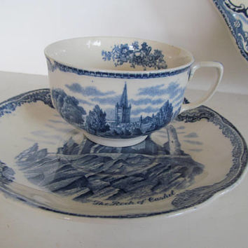 Johnson Bros England Old Britain Castle Blue Tea Cup and Saucer Set Blue and White Tea Cups, Flow Blue Decor Johnson Bros china