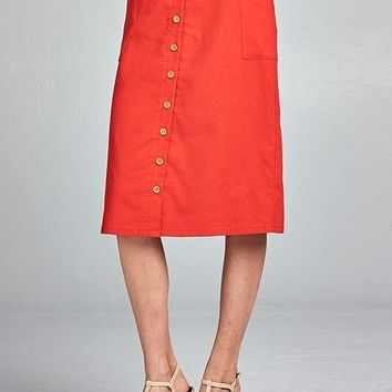 Mia Cotton Linen Button Front Skirt in Red