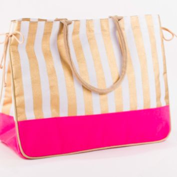 Addison Juco Tote- Hot Pink/Gold