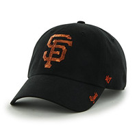 MLB San Francisco Giants Womens Sparkle Team color '47 Clean Up Adjustable Hat, black, Women's,Black