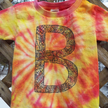 Custom Kids Initial Shirt, Custom Tiedye Monogram Tshirt, Personalized Tie Dye, Personalized Tshirt, Zentangle Shirt, Your Initial TShirt