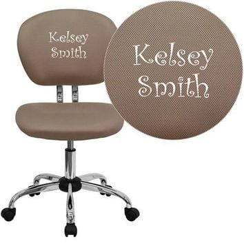 Personalized Mid-Back Coffee Brown Mesh Swivel Task Chair with Chrome Base