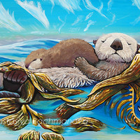 Sea Otter Mom and Pup Original Acrylic Painting