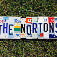 Christmas. License plate sign. Last name. Wedding, wedding gift. Gift idea