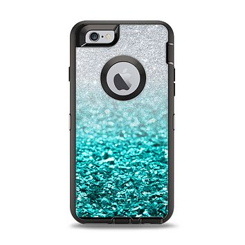 The Aqua Blue & Silver Glimmer Fade Apple iPhone 6 Otterbox Defender Case Skin Set