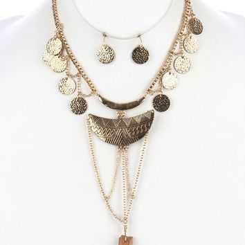 Brown Tribal Print Etched Aged Finish Metal Necklace And Earring Set